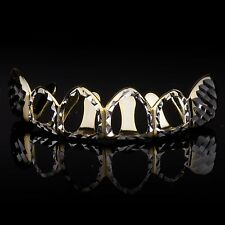 14K Gold & Silver Plated Hip Hop Hollow Side Diamond Cut Cap Teeth Top Grillz