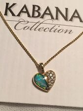 Kabana 14k Gold Diamond And Opal Heart Pendant And Necklace