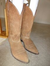Code West Suede Leather Cowboy Cowgirl Western Boots, Women's 7.5M, Tan, NICE!