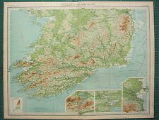 1921 LARGE MAP ~ IRELAND SOUTHERN SECTION KERRY WATERFORD INSET CORK DUBLIN