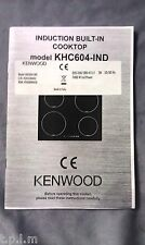 KENWOOD, DELONGHI  INDUCTION HOB INSTRUCTION BOOKLET (KD12) original spare