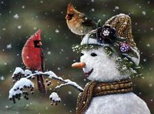 "Kim Norlien ""Winter Visitors II"" Snowman Cardinal Print 16 x 12"