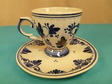MINT-DELFTS BLAUW #211 SMALL FOOTED DEMITASSE TEA CUP & SAUCER-HOLLAND-NO FLAWS