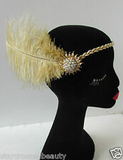 1920s Cream & Gold Pearl Vintage Ostrich Feather Headpiece Flapper Headband Q24