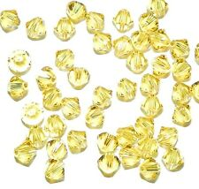 SCB385 LIGHT TOPAZ Yellow Xilion Faceted Bicone 4mm Swarovski Crystal Bead 48/pk