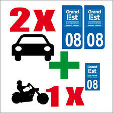 Lot 3 STICKERS 2 x AUTO+1x MOTO STYLE LICENSE PLATE DEPARTMENT 08 GE