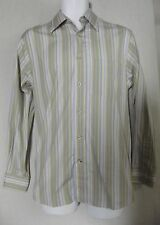 EXPRESS MENS SMALL GREEN STRIPED DRESS SHIRT 100% COTTON S button front long sly