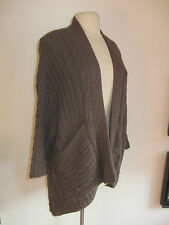 WALL SZ L NWT BABY ALPACA BROWN LOOSE CHUNKY CABLE KNIT POCKET FRONT CARDIGAN