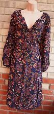 TU NAVY BLUE PAISLEY FLORAL HALF BUTTONED SKATER FLIPPY A LINE VTG DRESS 20