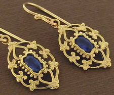 E069- Genuine 9ct Solid Yellow Gold NATURAL Sapphire Filigree Drop Earrings