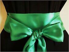 """2.5 X85 """"verde smeraldo in raso Sash Belt Self TIE Bow for Party Prom abito nuziale"""