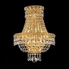 "Palace 5th Ave 17""H Crystal Wall  light  Gold Fixture"
