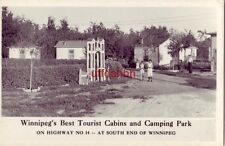 WINNIPEG'S BEST TOURIST CABINS and CAMPING PARK RPPC 1930's auto Man and 2 girls