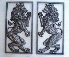 Pair of Large Britannic Lions Old World Driveway Gate Pillar Royal Fighting lion