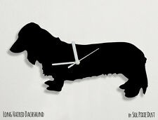 Long haired dachshund Dog Silhouette - Wall Clock