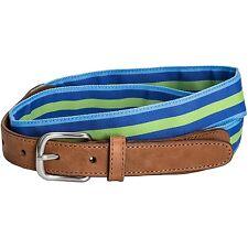 Lnads' End - NIP - 28 - Blue & Green Striped Grosgrain Ribbon & Tan Leather Belt