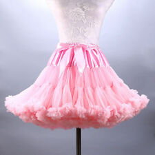 Pink Women Dance Ballet Party Fluffy Full Tutu Petticoat Skirt Adult Mini Dress
