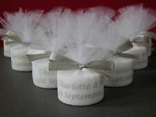 Personalised Candle Tealight Wedding Favours With Silver Satin Bows (Set of 50)