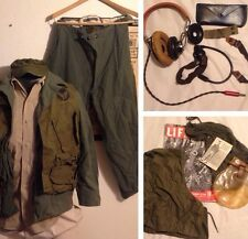 13 Piece Lot WW2 ARMY AIR FORCE Wool PILOT UNIFORM+ Cap+ C-1 Vest +headset +More