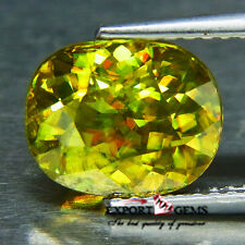 VVS1 3.59CT BEAUTIFUL LUSTER NATURAL YELLOW SPHENE OVAL