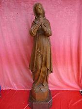 hermosa,muy antiguo, talla Figura de madera__Santo__115cm__Roble Tallado_