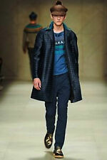 NWT BURBERRY MENS PRORSUM $3195 RAFFIA STRIPED TRENCH COAT JACKET SZ US 44/EU 54