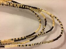 CHICO'S Triple Strand Necklace TAWNY Brown and Neutral Bone & Wood Beads NWT