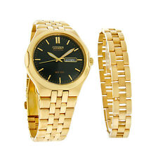 Citizen Eco-Drive Mens Corso Black Gold Tone Dress Watch BM8402-62E