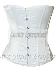 Halfbust Full Steel Boned Bustier Shaper Gothic Sexy Glamour White Satin Corset