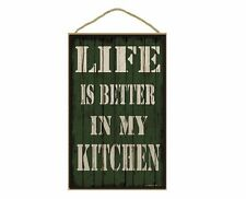"""Green Life Is Better In My Kitchen Sign Plaque 10""""X16"""""""