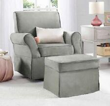 Swivel Glider Chair AND OTTOMAN in Gray Microfiber Nursery Baby Furniture NEW