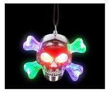LED LIGHT UP FLASHING SKULL CROSSBONES CORD NECKLACE RAVE PARTY FAVOR SKELETON