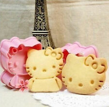 Hello Kitty Cat Biscuit Cookie Cutter Mould Embosser Set Cake Decorating Kids UK
