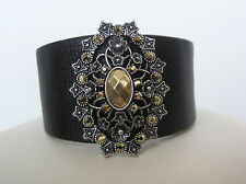 Lucky Brand Silver Tone Dark Brown Leather Crystal Bracelet