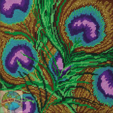 Needlepoint Kit Design Works Close-up Peacock Feathers Picture / Pillow #DW2518