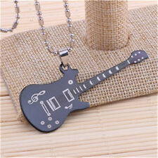 Fashion Guitar Womens Men's Silver 316L Stainless Steel Titanium Pendant Necklac