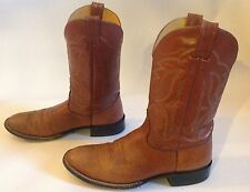 Men's Nocona Boots Brown Leather Round Toe Western Cowboy Vintage Boots Sz.11