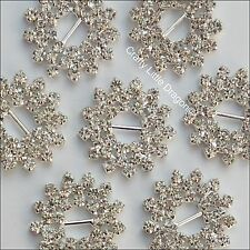 4 x 30mm Snowflake Style Clear Rhinestone Diamante Gem Ribbon Buckle Slider