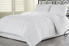 2pcs Hotel Dobby Stripe Goose Down Alternative Comforter Set, White Twin