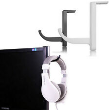 Useful White Headphone Holder Headset Earphone Hanger Wall PC Monitor Stand Rack