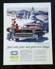 1957 Chevrolet  Belair Hot Rod  General Motors 14 x 18 Mounted car ad gift 1956