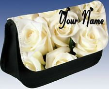 MOTHERS DAY GIFT Personalised Cream Roses Flower Pencil Case MAKE UP Bag
