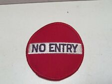 """Vintage New No Entry Street Sign Patch Iron On 3"""" Round Emblem Sign Hippie"""