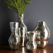 West Elm mercury glass silver GOURD vase, small, DISCONTINUED