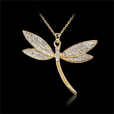 Hot Fashion Exquisite 18K Jewelry Gold Filled Chain Dragonfly Pendant Necklace