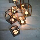 Metal & Glass Lantern in Copper, Brass or Zinc Votive Candle Tea Light Holder