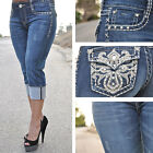 DARK BLUE LA IDOL CAPRIS WITH EMBROIDER DESIGN AND RHINESTONES 3260CP