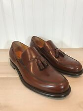 Giorgio Armani Men's Brown Italian Leather Dress Shoes Loafers Tassle Sz 40
