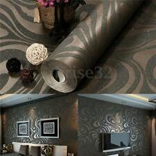 3D Embossed Luxury Abstract Curve Mural Papel De Parede Flocking Wallpaper Roll