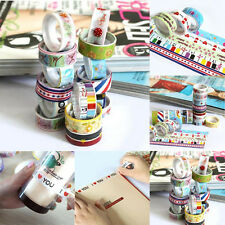 10x Ruban Adhésif Papier Rouleau Décoratif Autocollant Galon Washi Masking Tape